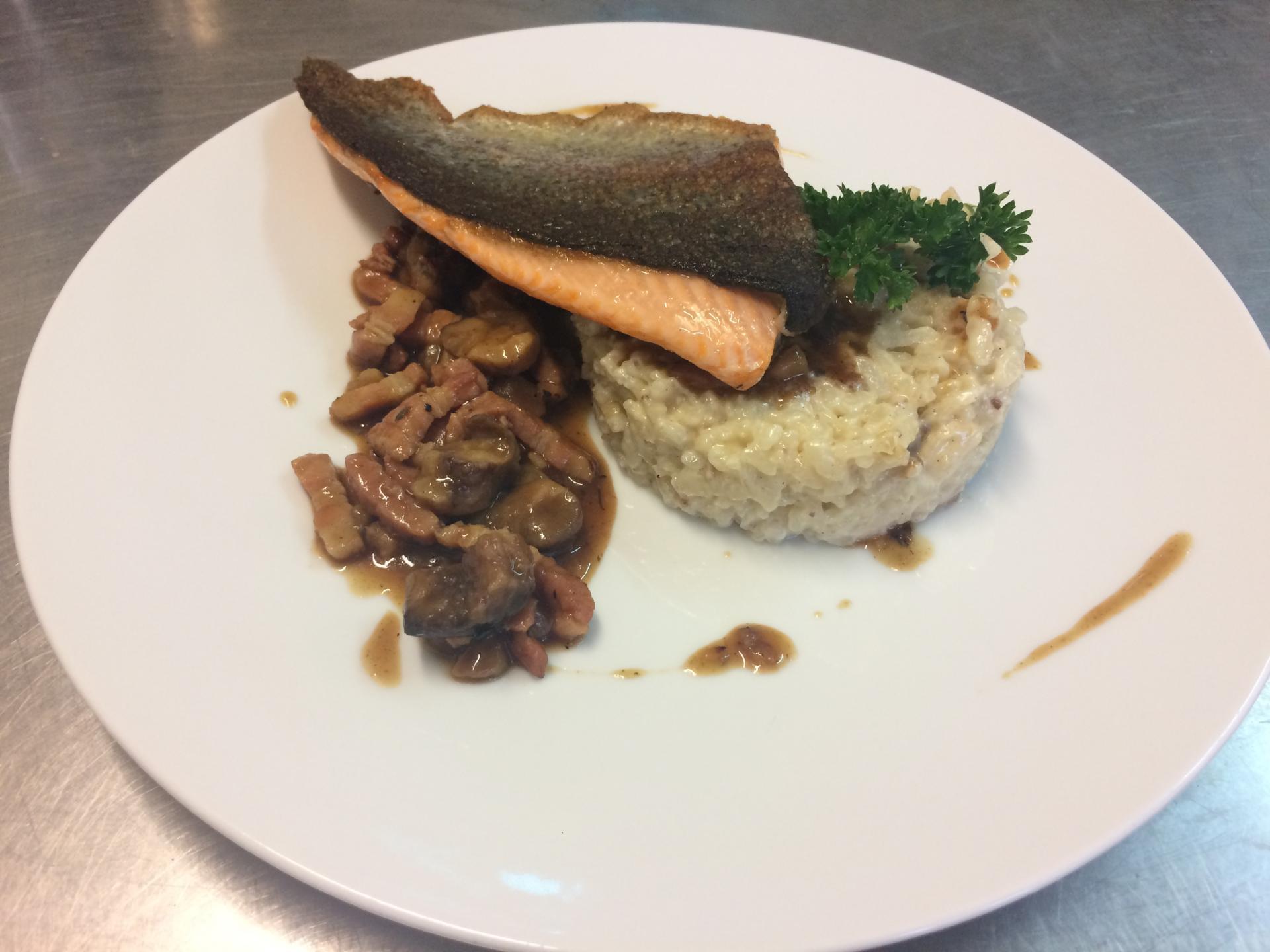 Truite de l'Ardèche et son risotto aux marrons