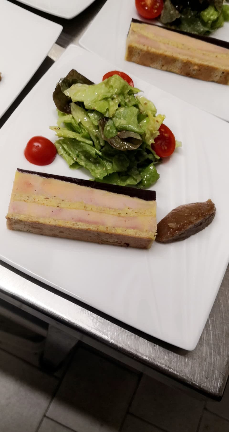 Opéra de foie gras et sa gelée de figues