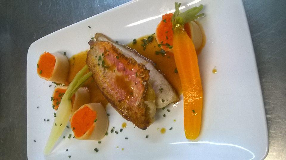 Filet de rouget et ses cannellonis de carottes