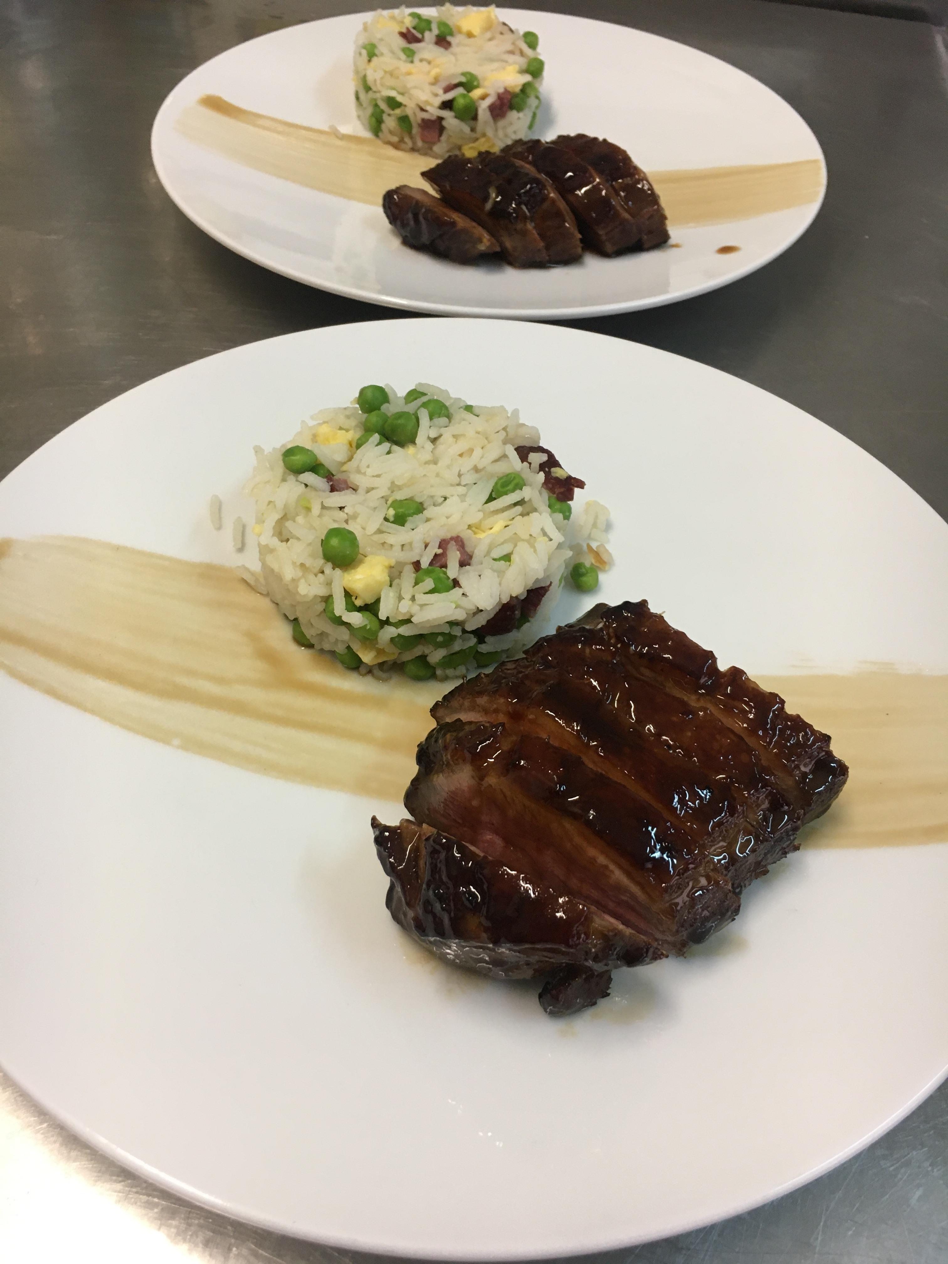 Canard laqué et son riz cantonais (nouvel an Chinois)