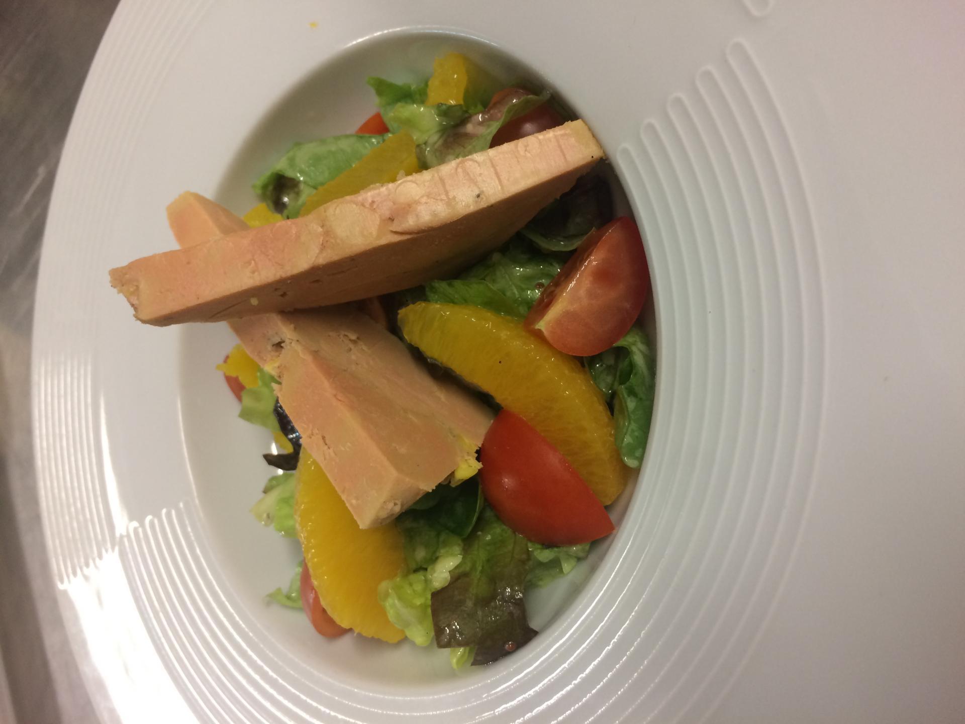 Salade au foie gras et à l'orange