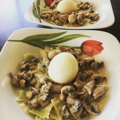 Ravioles Mère Maury aux champignons et son œuf mollet